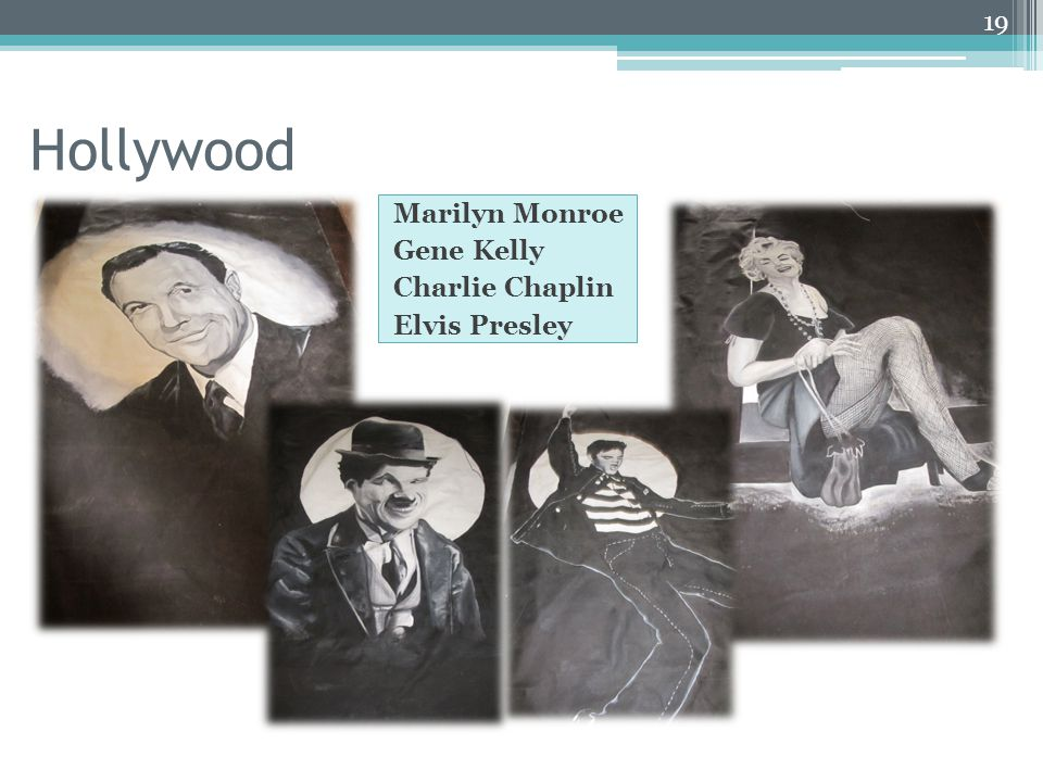Hollywood Marilyn Monroe Gene Kelly Charlie Chaplin Elvis Presley 19