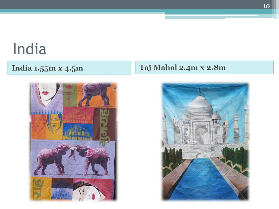 India India 1.55m x 4.5m Taj Mahal 2.4m x 2.8m 10