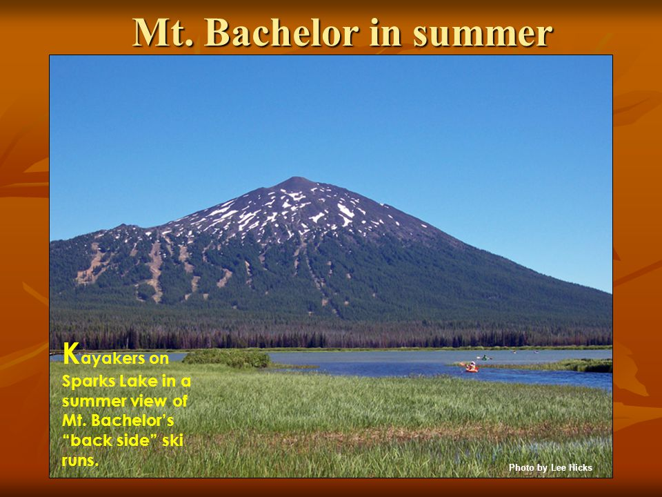 Mt. Bachelor in summer K ayakers on Sparks Lake in a summer view of Mt.