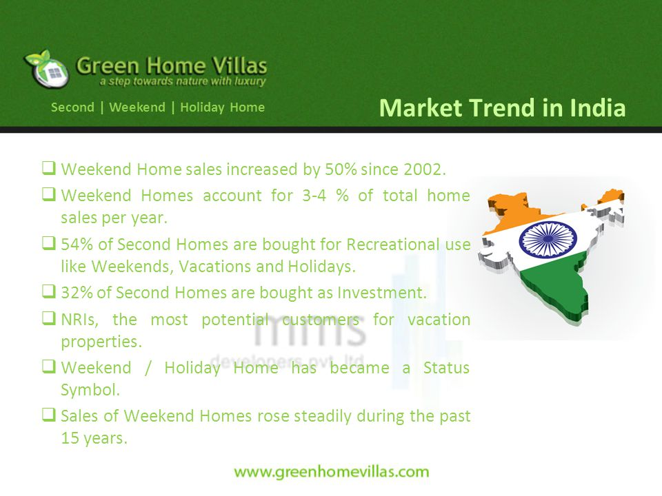 Market Trend in India Weekend Home sales increased by 50% since 2002.