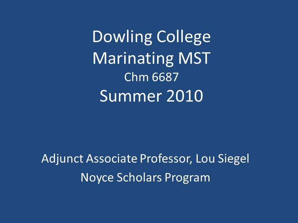 Dowling College Marinating MST Chm 6687 Summer 2010 Adjunct Associate Professor, Lou Siegel Noyce Scholars Program