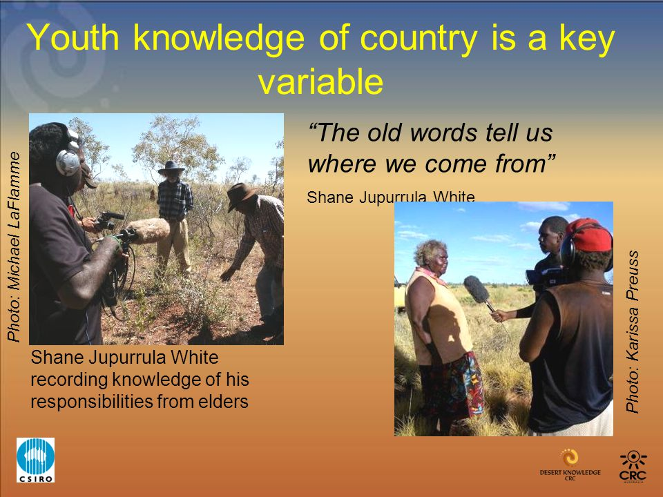 Youth knowledge of country is a key variable Shane Jupurrula White recording knowledge of his responsibilities from elders The old words tell us where