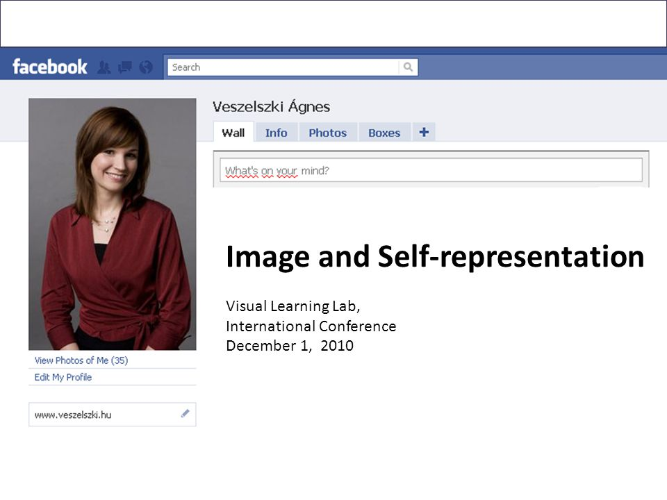 Image and Self-representation Visual Learning Lab, International Conference December 1, 2010