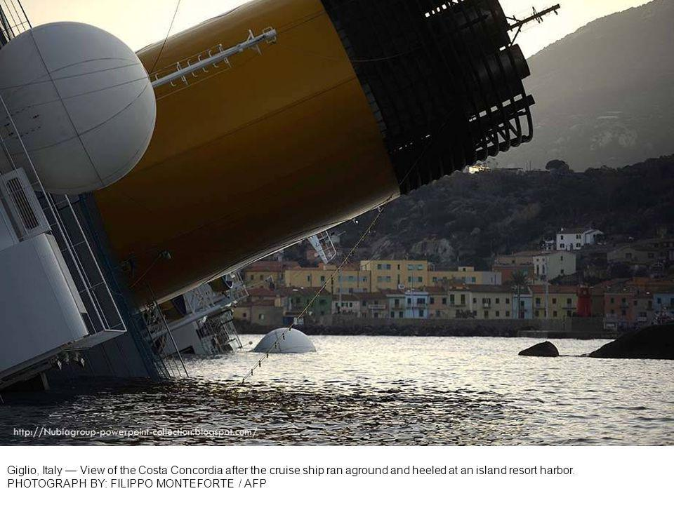 Giglio, Italy The cruise ship Costa Concordia lies stricken. PHOTOGRAPH BY: ENZO RUSSO / ANSA