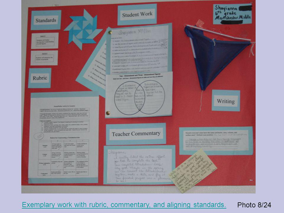 Photo 8/24 Exemplary work with rubric, commentary, and aligning standards.