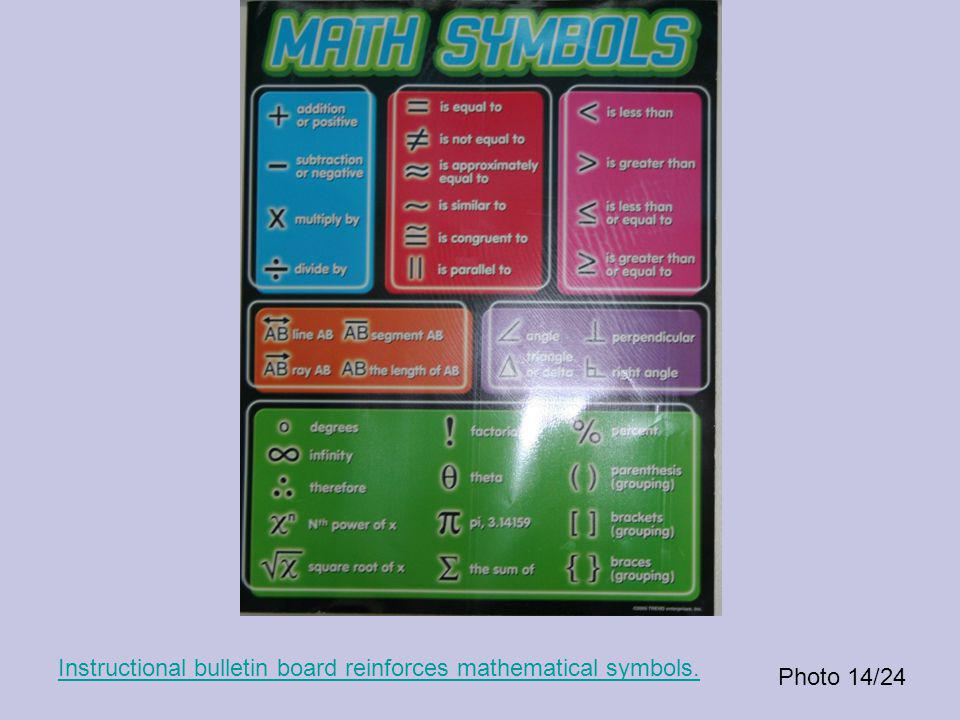 Photo 14/24 Instructional bulletin board reinforces mathematical symbols.