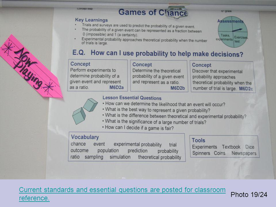 Photo 19/24 Current standards and essential questions are posted for classroom reference.