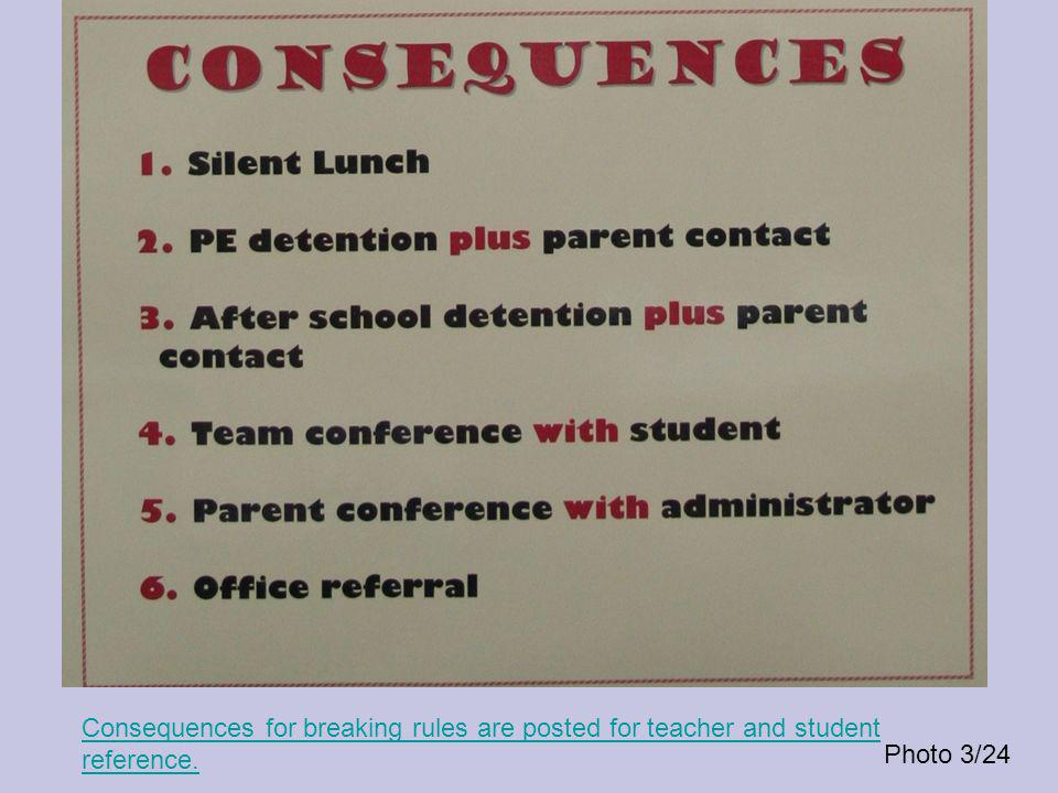 Consequences for breaking rules are posted for teacher and student reference. Photo 3/24