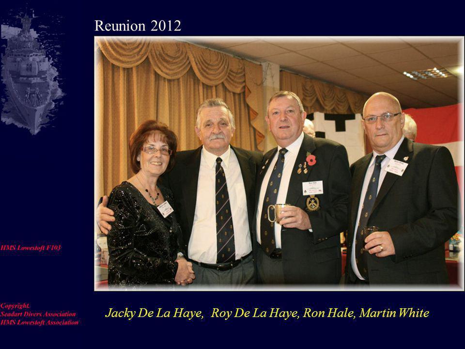 Rum Issue Bob Errington. Jim Riley. Jim [Elsie] Eldridge, Reunion 2012.