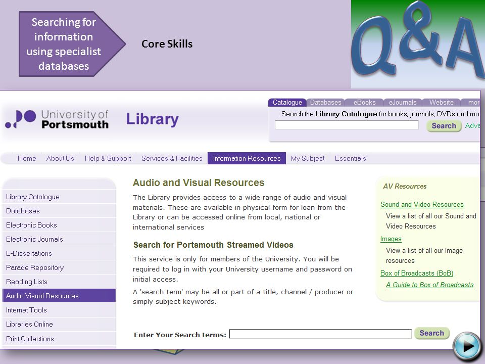 Try again Searching for information using specialist databases Core Skills Here is a section of the Library homepage.