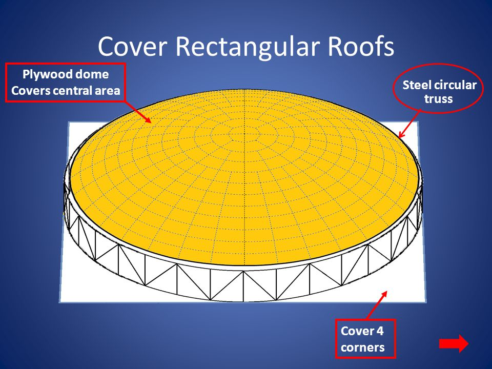 Cover Rectangular Roofs Steel circular truss Cover 4 corners Plywood dome Covers central area
