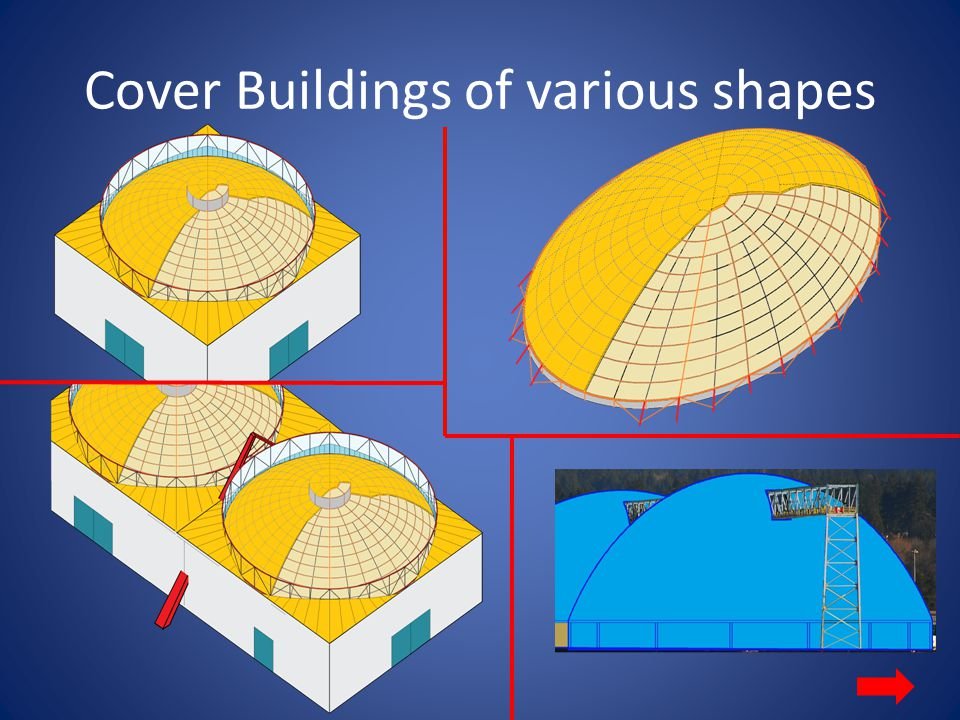 Best Use of Plywood Dome Cover buildings that have a large span without interior supporting columns require low cost roofing require light weight roofing require roofing built with sustainable material