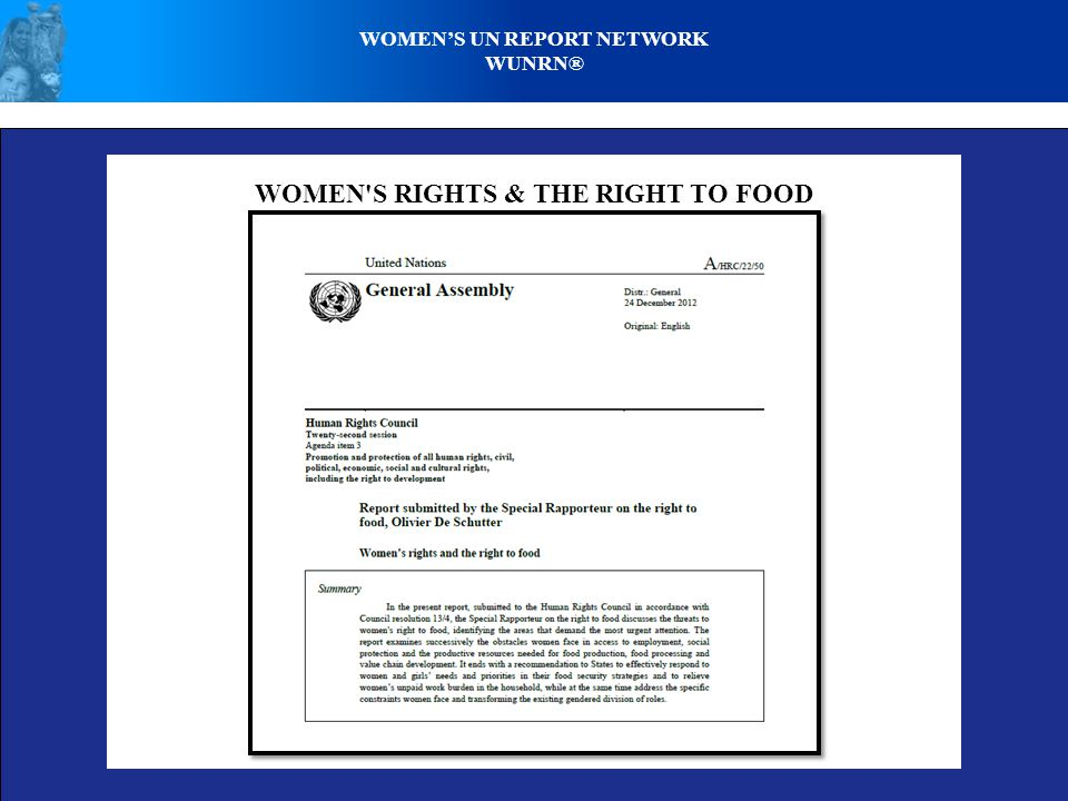 WOMEN'S RIGHTS & THE RIGHT TO FOOD WOMENS UN REPORT NETWORK WUNRN®