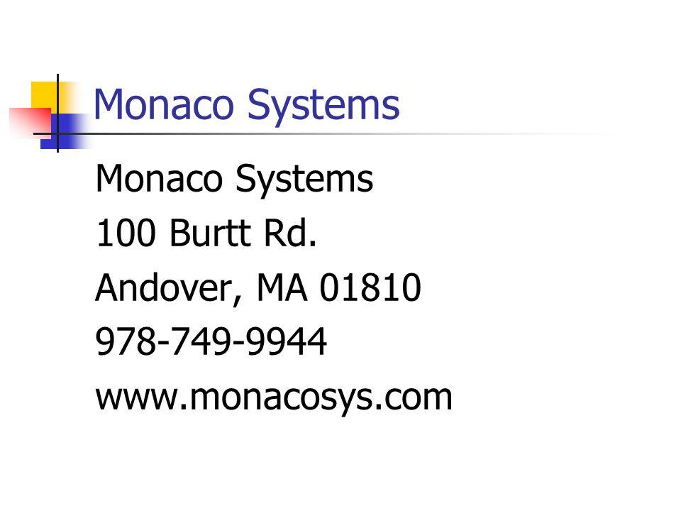 Monaco Systems 100 Burtt Rd. Andover, MA 01810 978-749-9944 www.monacosys.com
