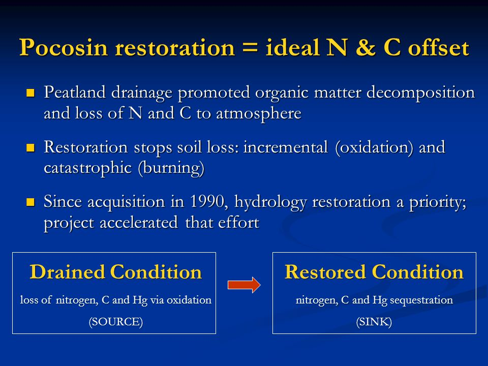 Pocosin restoration = ideal N & C offset Peatland drainage promoted organic matter decomposition and loss of N and C to atmosphere Peatland drainage promoted organic matter decomposition and loss of N and C to atmosphere Restoration stops soil loss: incremental (oxidation) and catastrophic (burning) Restoration stops soil loss: incremental (oxidation) and catastrophic (burning) Since acquisition in 1990, hydrology restoration a priority; project accelerated that effort Since acquisition in 1990, hydrology restoration a priority; project accelerated that effort Drained Condition loss of nitrogen, C and Hg via oxidation (SOURCE) Restored Condition nitrogen, C and Hg sequestration (SINK)