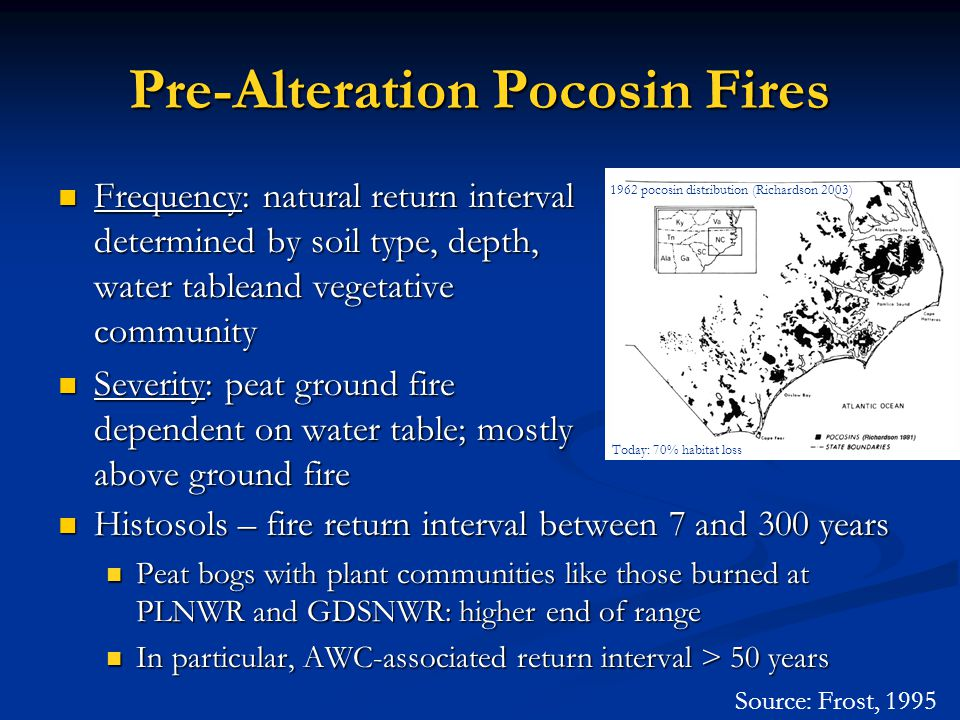 Pre-Alteration Pocosin Fires Frequency: natural return interval determined by soil type, depth, water tableand vegetative community Frequency: natural return interval determined by soil type, depth, water tableand vegetative community Severity: peat ground fire dependent on water table; mostly above ground fire Severity: peat ground fire dependent on water table; mostly above ground fire Source: Frost, 1995 1962 pocosin distribution (Richardson 2003) Today: 70% habitat loss Histosols – fire return interval between 7 and 300 years Histosols – fire return interval between 7 and 300 years Peat bogs with plant communities like those burned at PLNWR and GDSNWR: higher end of range Peat bogs with plant communities like those burned at PLNWR and GDSNWR: higher end of range In particular, AWC-associated return interval > 50 years In particular, AWC-associated return interval > 50 years