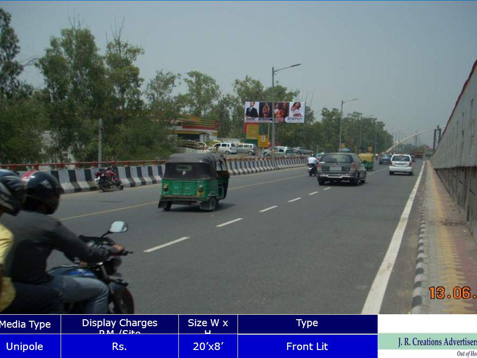 NR AMBADKER STADIUN GATE NO 03 Media Type Display Charges P.M./Site Size W x HType Unipole Rs.20x8 Front Lit