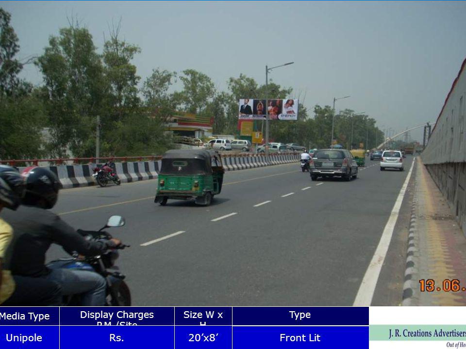 Madhuban chowk Nr Saroj Hospita Media Type Display Charges P.M./Site Size W x HType Unipole Rs.20x8 Front Lit