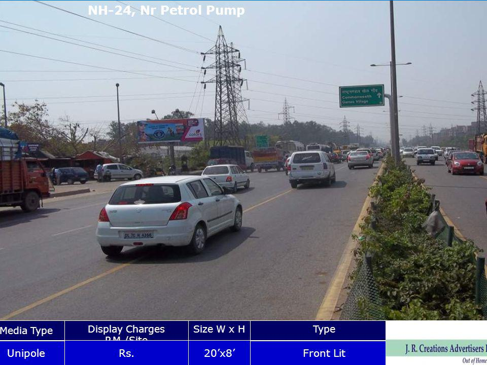 NH-24, Nr Petrol Pump Media Type Display Charges P.M./Site Size W x HType Unipole Rs.20x8 Front Lit NH-24, Nr.