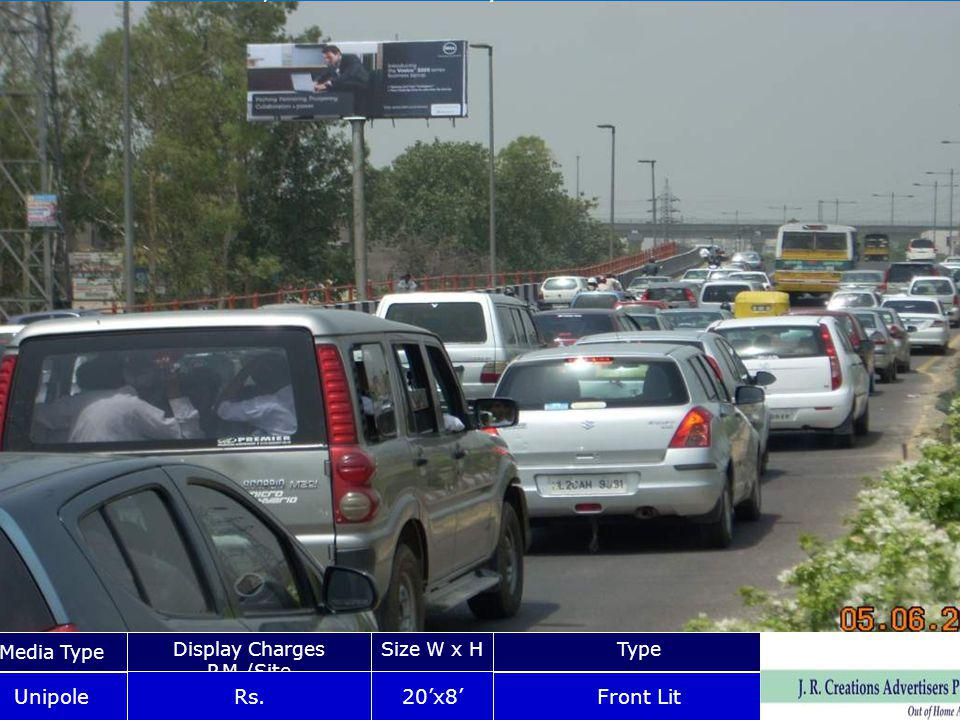 Vikash Marg Near Laxmi Nagar Chungi Media Type Display Charges P.M./Site Size W x HType Unipole Rs.20x8 Front Lit