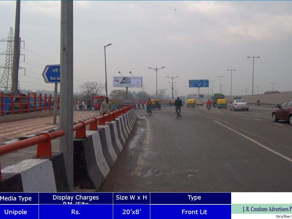 Pushta Road Nr, Gandhi Nagar Media Type Display Charges P.M./Site Size W x HType Unipole Rs.20x8 Front Lit