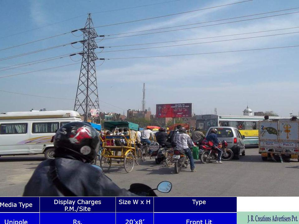 Gazipur Chowk Nr. Kalyan Puri Bus Depot Media Type Display Charges P.M./Site Size W x HType Unipole Rs.20x8 Front Lit