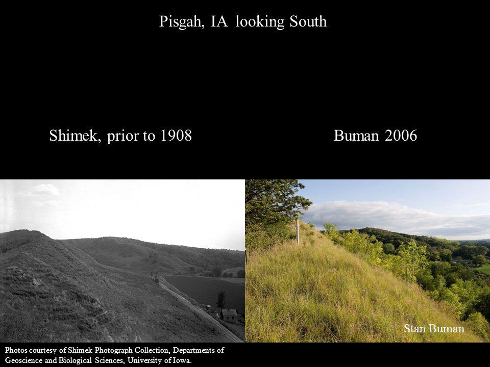 Pisgah, IA looking South Shimek, prior to 1908Buman 2006 Stan Buman Photos courtesy of Shimek Photograph Collection, Departments of Geoscience and Bio
