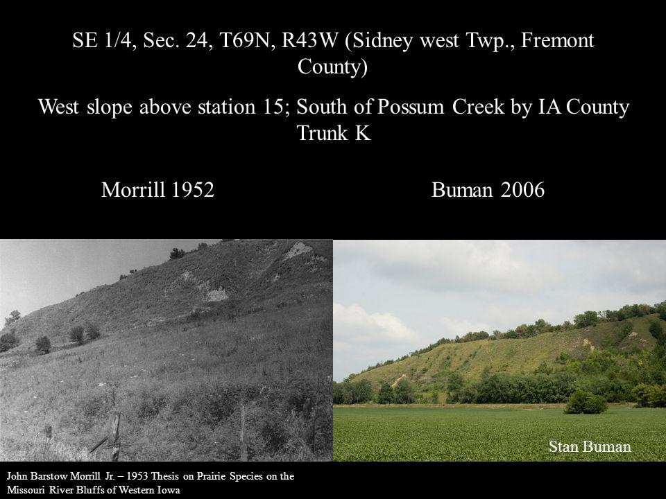 SE 1/4, Sec. 24, T69N, R43W (Sidney west Twp., Fremont County) West slope above station 15; South of Possum Creek by IA County Trunk K Morrill 1952Bum