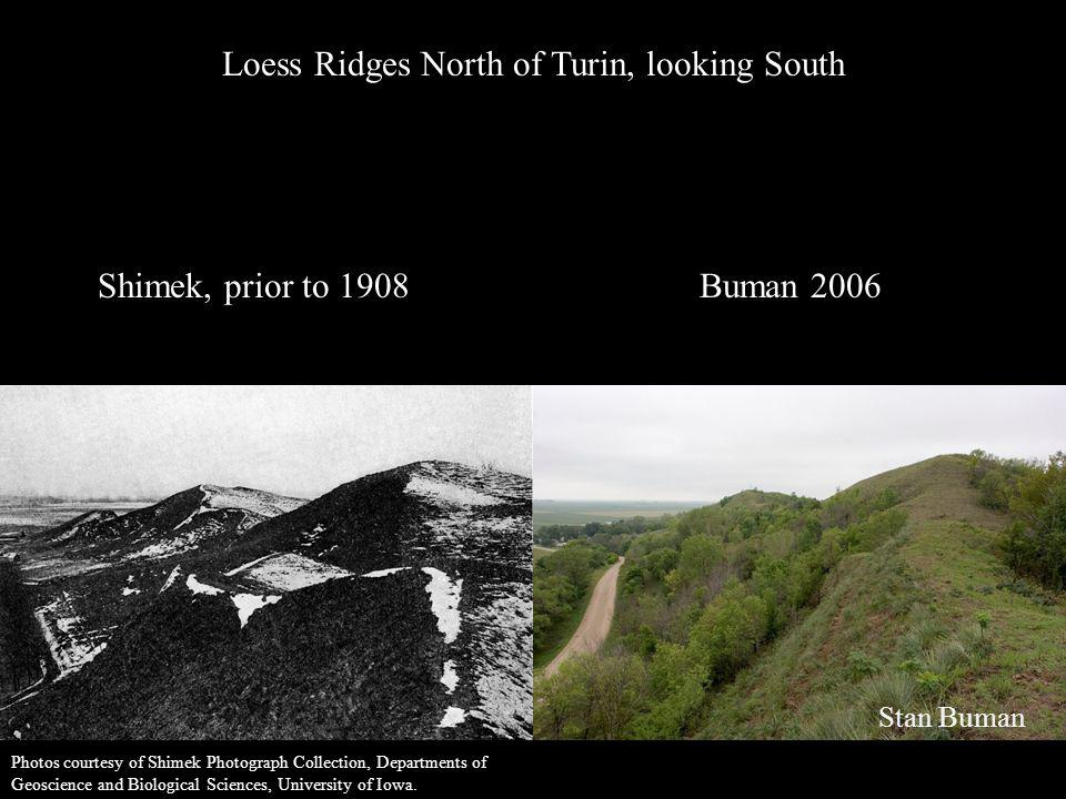 Loess, along loess ridge, timber in sheltered valleys N.