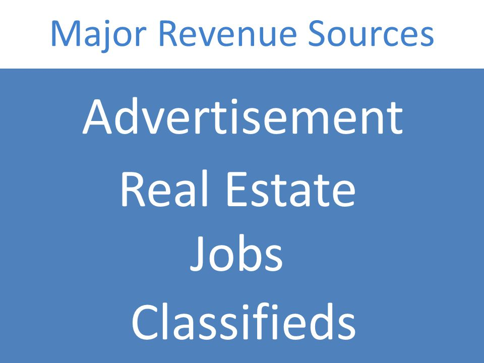 Major Revenue Sources Advertisement Real Estate Jobs Classifieds