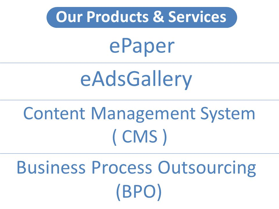 Our Products & Services ePaper eAdsGallery Content Management System ( CMS ) Business Process Outsourcing (BPO)