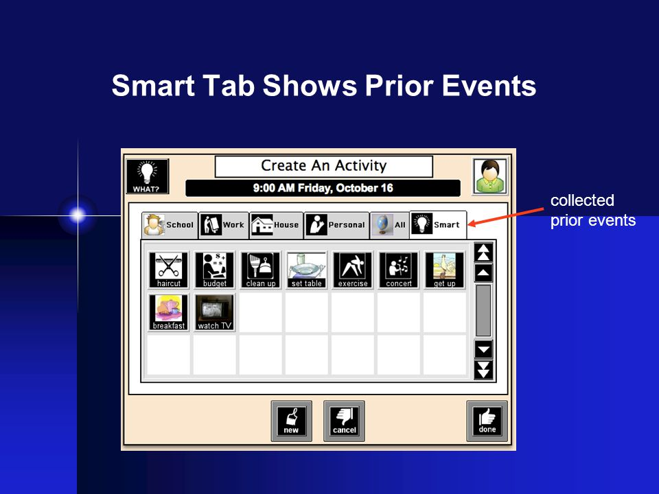 Smart Tab Shows Prior Events collected prior events