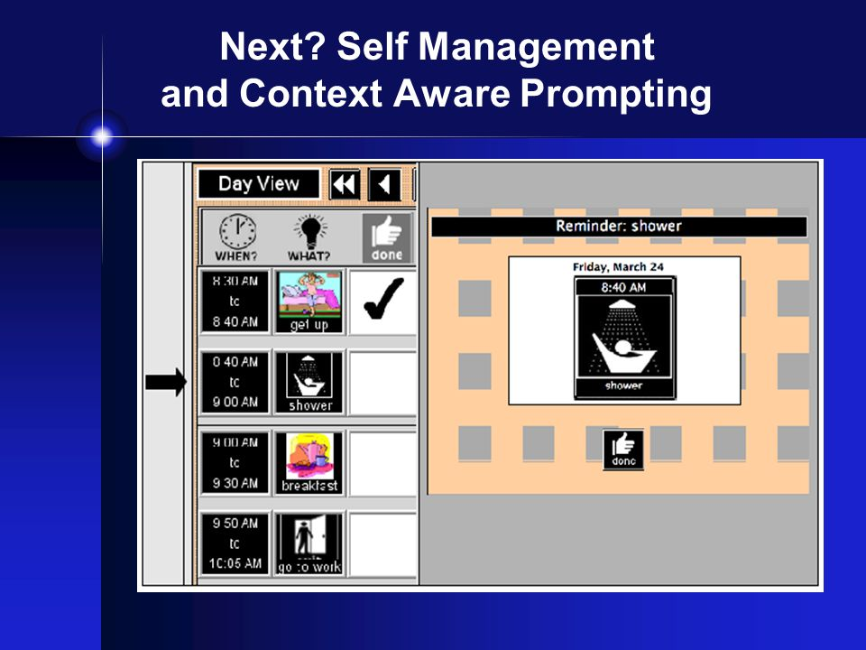 Next? Self Management and Context Aware Prompting
