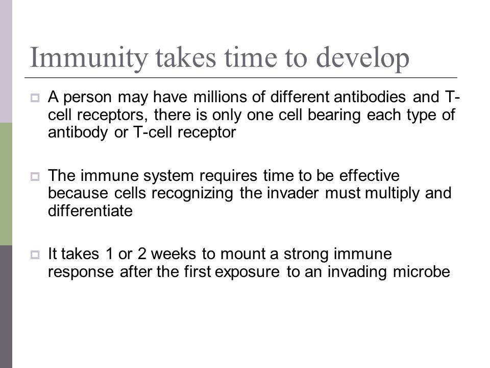Immunity takes time to develop A person may have millions of different antibodies and T- cell receptors, there is only one cell bearing each type of a