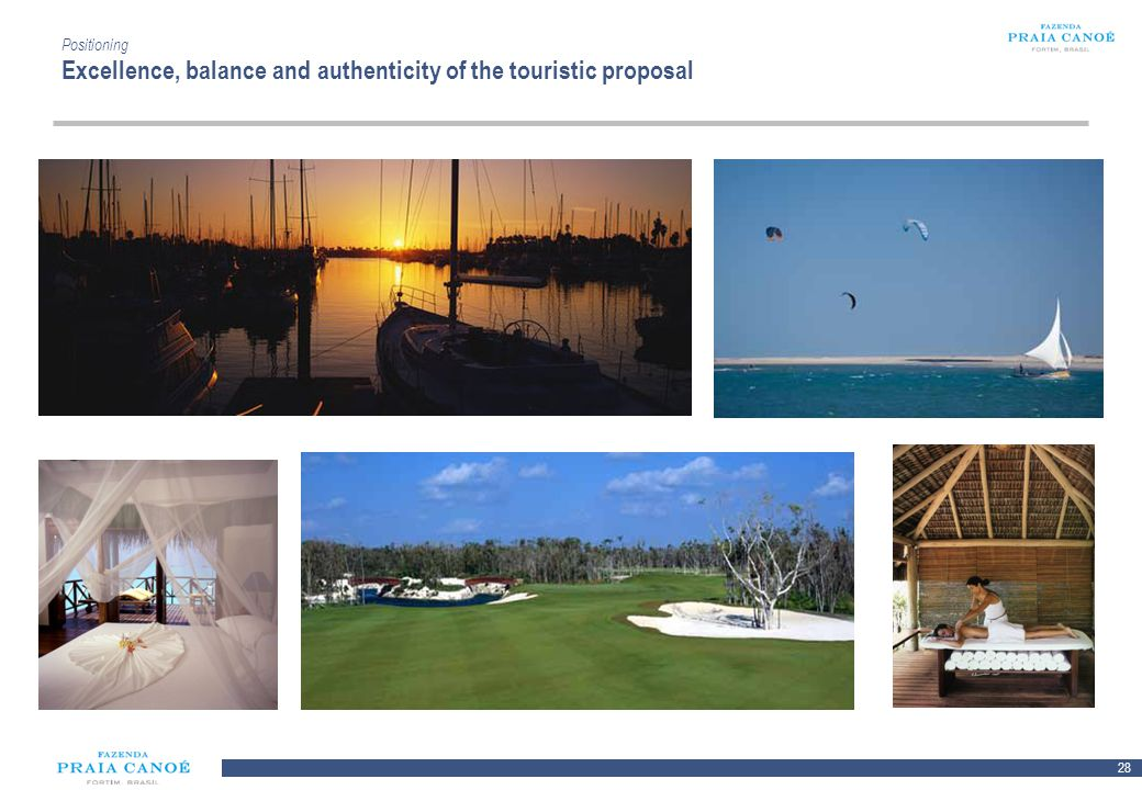28 10/H/080468/2/Plan Comercial FPC_081113/SR Positioning Excellence, balance and authenticity of the touristic proposal