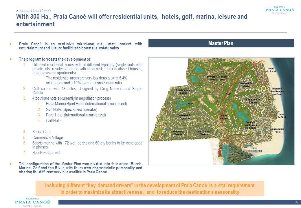35 10/H/080468/2/Plan Comercial FPC_081113/SR Fazenda Praia Canoé With 300 Ha., Praia Canoé will offer residential units, hotels, golf, marina, leisur