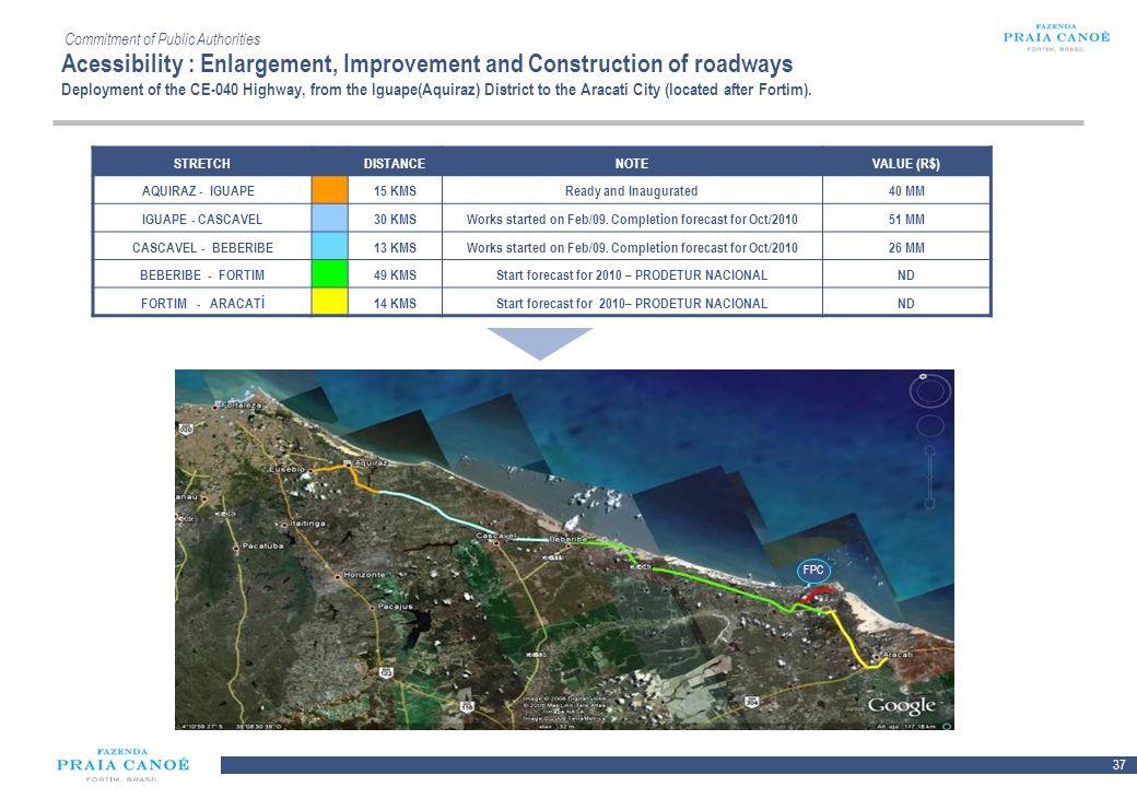 37 10/H/080468/2/Plan Comercial FPC_081113/SR Commitment of Public Authorities Acessibility : Enlargement, Improvement and Construction of roadways De