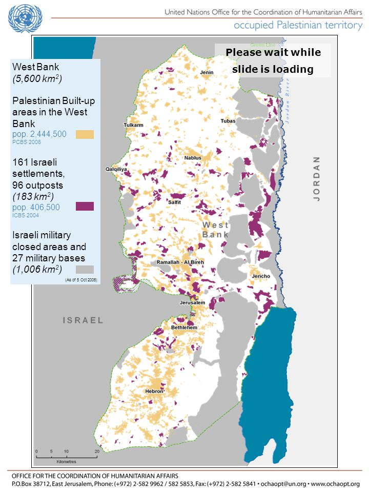 *Figures include checkpoints and physical obstacles, data collected by OCHA Number of West Bank Closures Disengagement 46% increase since disengagement Closures Update No improvement in Palestinian movement