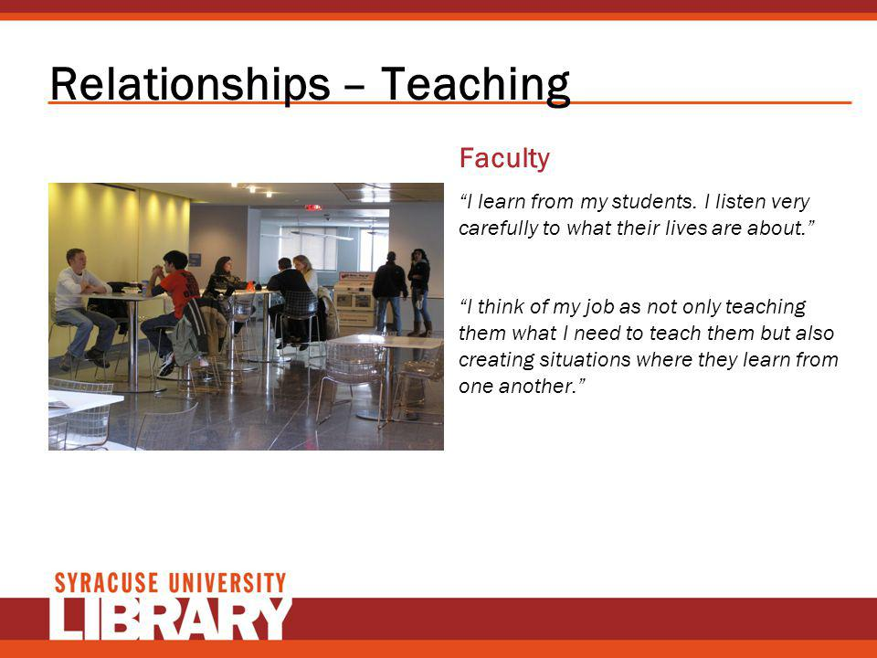 Relationships – Teaching Faculty I learn from my students. I listen very carefully to what their lives are about. I think of my job as not only teachi