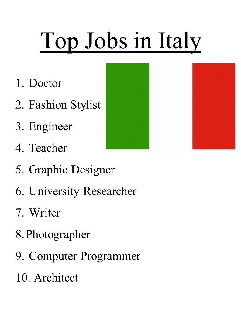 Top Jobs in Italy 1. Doctor 2. Fashion Stylist 3. Engineer 4. Teacher 5. Graphic Designer 6. University Researcher 7. Writer 8.Photographer 9. Compute