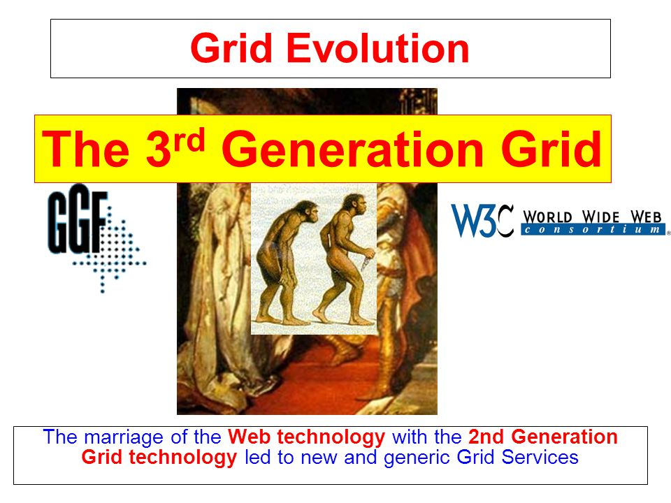 Grid Evolution The marriage of the Web technology with the 2nd Generation Grid technology led to new and generic Grid Services The 3 rd Generation Grid
