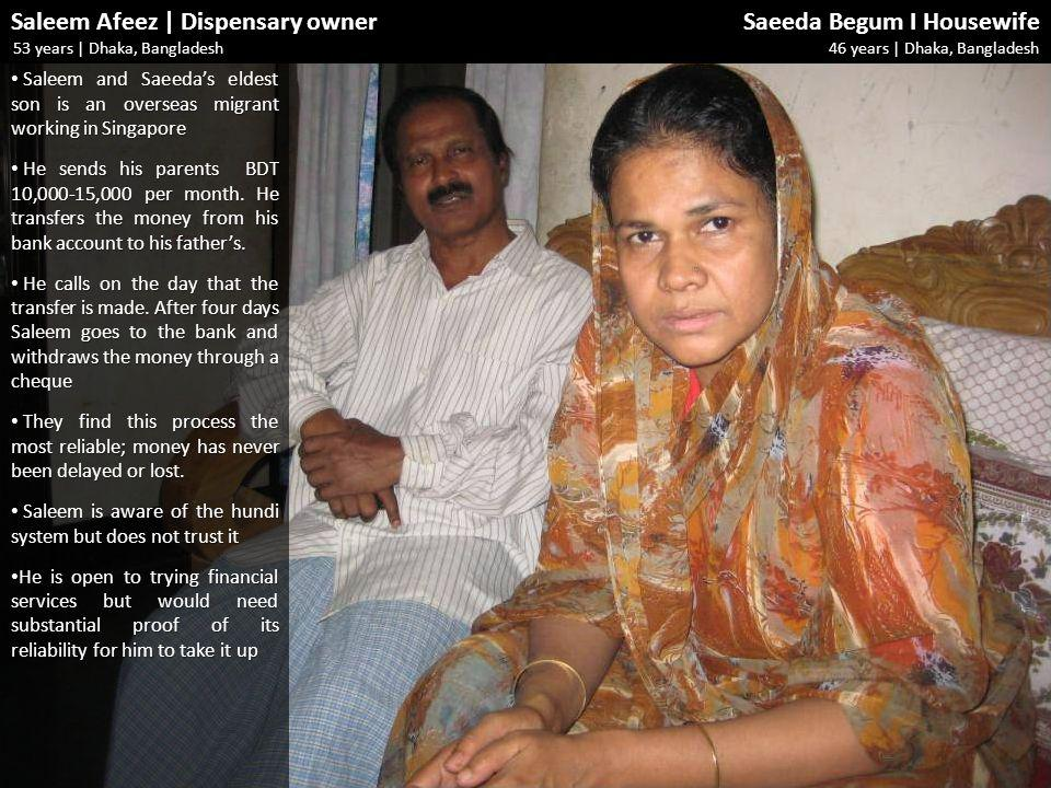 Saleem Afeez | Dispensary owner Saeeda Begum I Housewife 53 years | Dhaka, Bangladesh 46 years | Dhaka, Bangladesh Saleem and Saeedas eldest son is an overseas migrant working in Singapore Saleem and Saeedas eldest son is an overseas migrant working in Singapore He sends his parents BDT 10,000-15,000 per month.