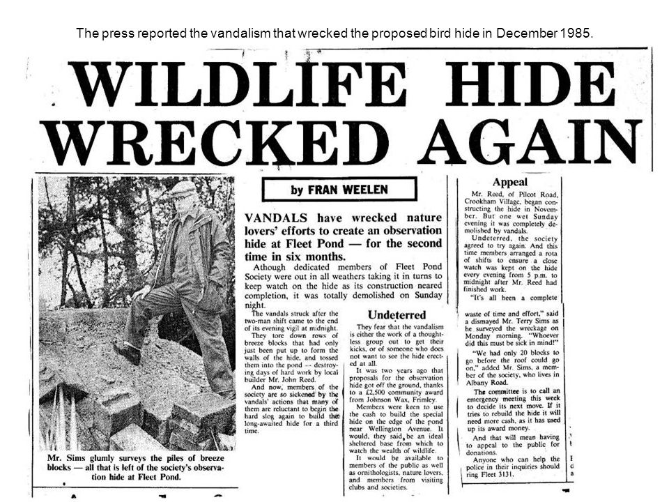 The press reported the vandalism that wrecked the proposed bird hide in December 1985.