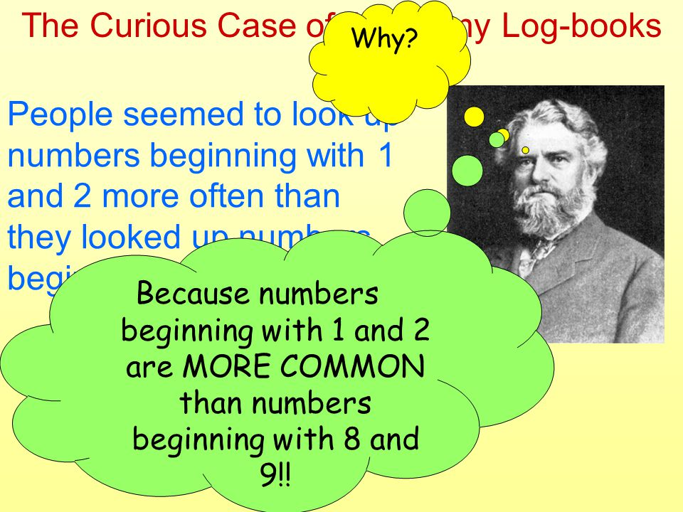 The Curious Case of the Grimy Log-books People seemed to look up numbers beginning with 1 and 2 more often than they looked up numbers beginning with 8 and 9.