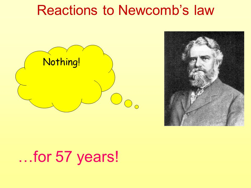 Reactions to Newcombs law Nothing! …for 57 years!