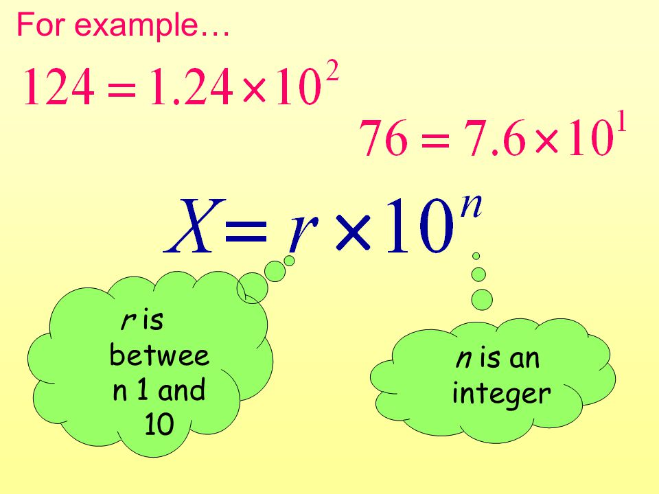 For example… r is betwee n 1 and 10 n is an integer