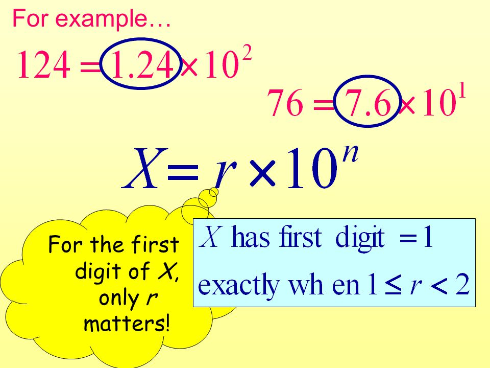For example… For the first digit of X, only r matters!