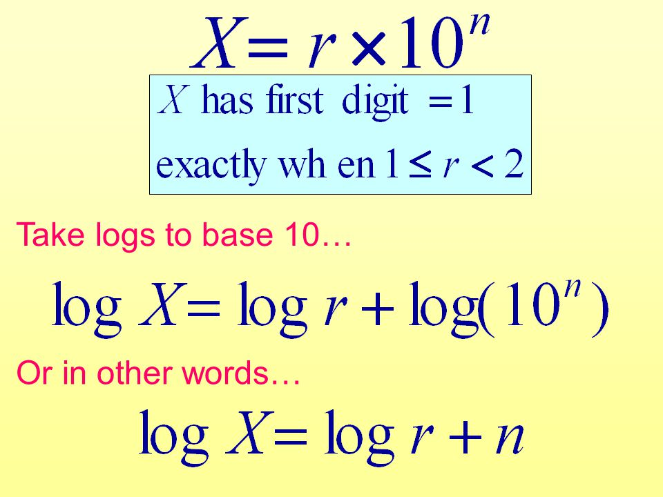 Take logs to base 10… Or in other words…
