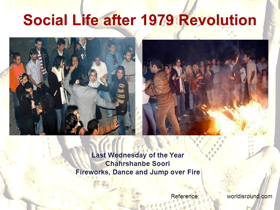 Social Life after 1979 Revolution Reference: worldisround.com Last Wednesday of the Year Chahrshanbe Soori Fireworks, Dance and Jump over Fire