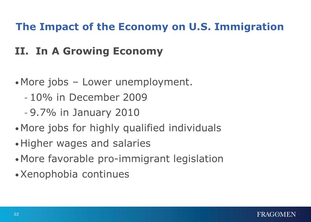 22 The Impact of the Economy on U.S. Immigration II. In A Growing Economy More jobs – Lower unemployment. - 10% in December 2009 - 9.7% in January 201